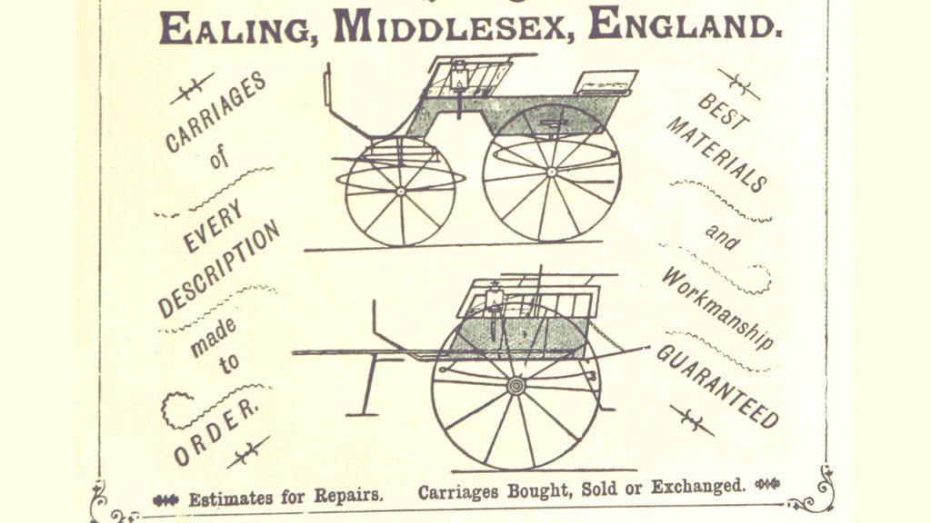 Late 1800s advertisement for a carriage company.