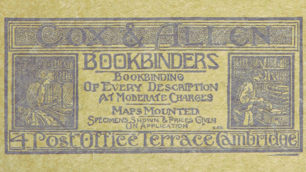 Late 1800s advertisement for a Bookbinders