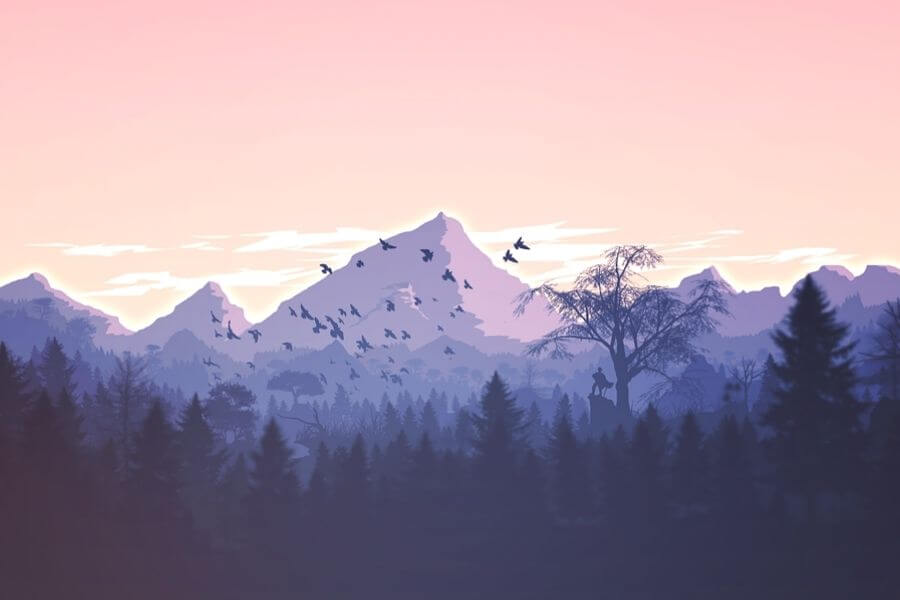 illustrated-mountains-birds-trees